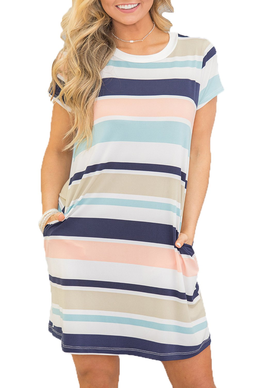 Chvity Women's Short Sleeve Crewneck T-Shirt Dress Tunic Midi Dress Striped (Multicolor#, Medium)