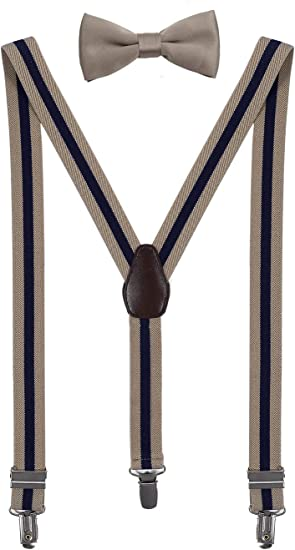 Toddlers Imported Premium Material for Boys Navy Bow Tie and Suspender Set