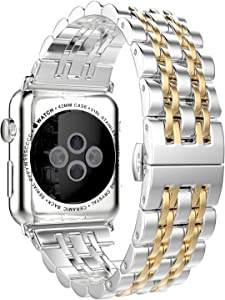 HUANLONG Compatible with Apple Watch Band, Solid Stainless Steel Metal Replacement Watchband Bracelet with Compatible with iWatch Series 1/2/3/4/5 (LS 38mm Silver/Gold)