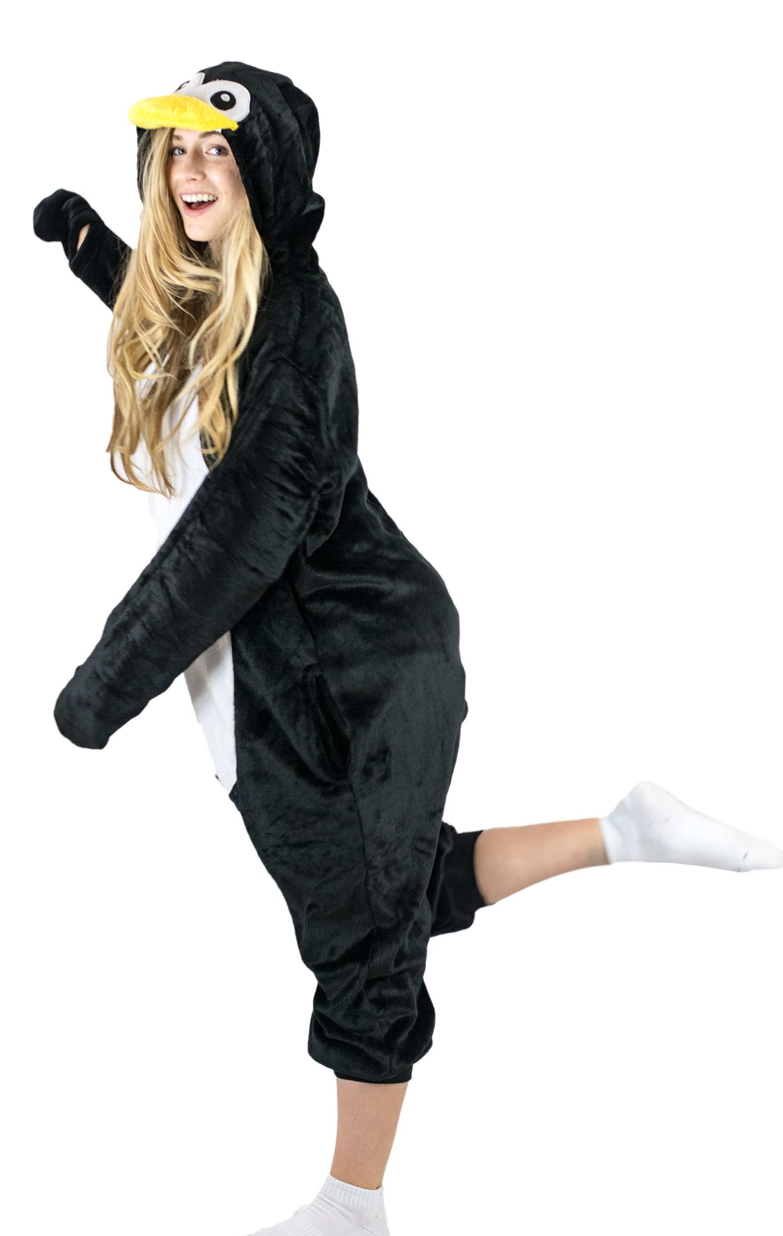 Adult Onesie Penguin Animal Pajamas Comfortable Costume with Zipper and Pockets (Large)