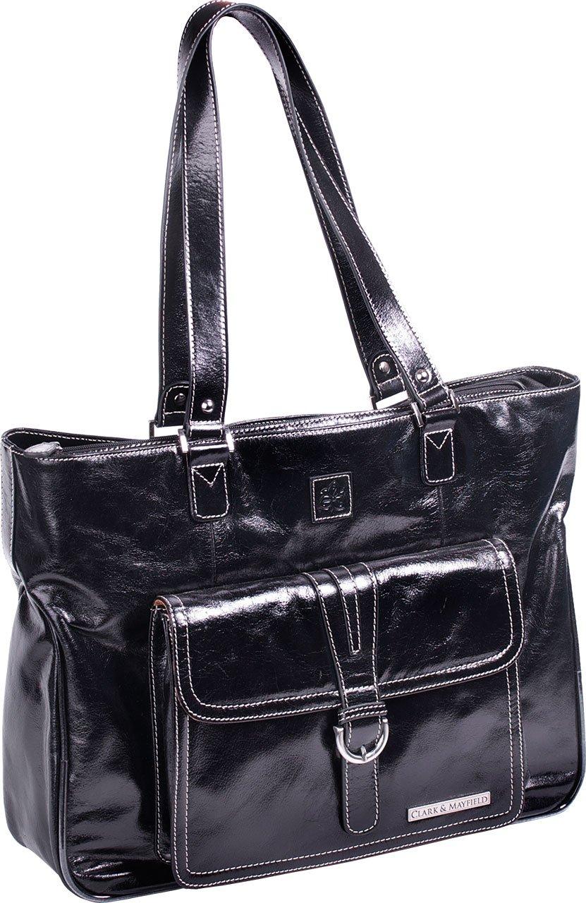 Clark & Mayfield Women's Stafford Vintage Leather Laptop Tote Bag 17.3'' - Black
