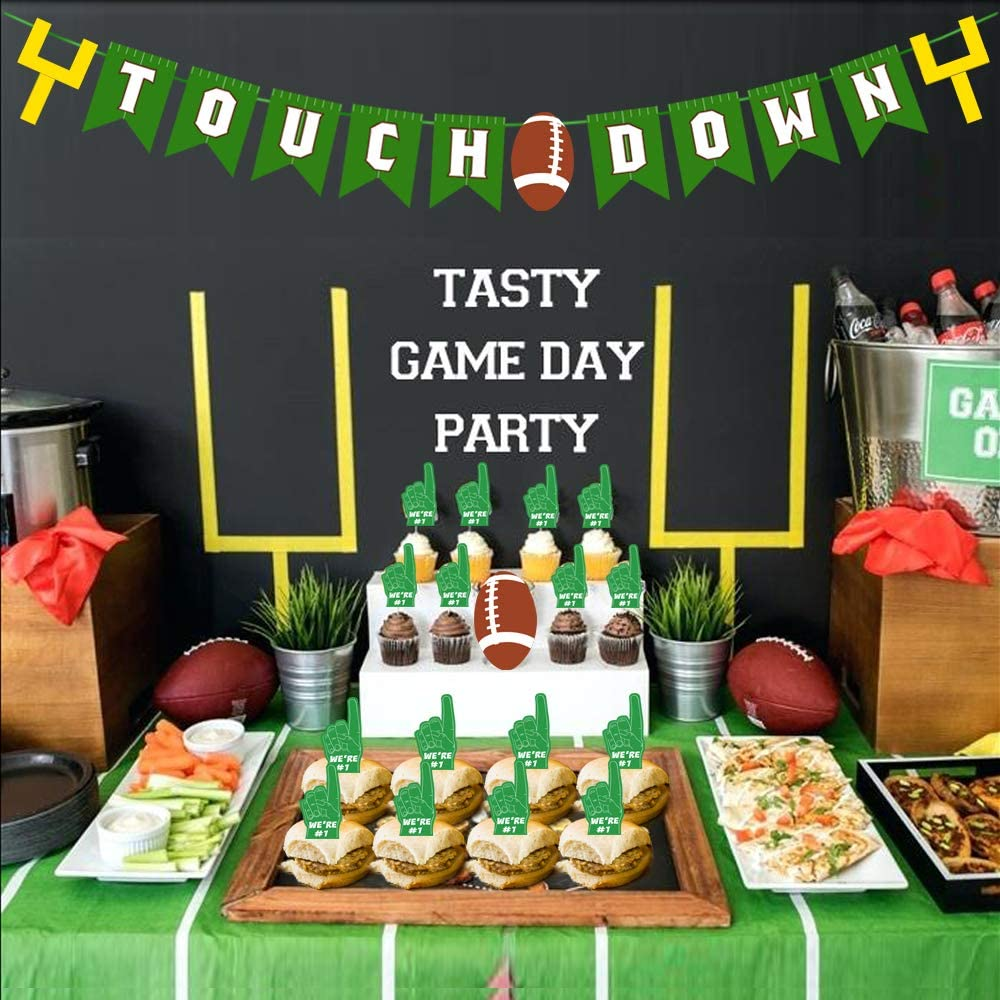 Super Bowl Touch Down Banner Party Supply, Cake Cupcakes Topper Football Birthday Party Decor, Game Day Sign Decor, Concession Stand Super Bowl Sunday or NFL Party Birthday Gift Home Decorations Favor