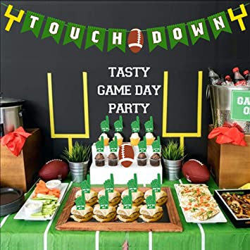 Amazon Com Super Bowl Touch Down Banner Party Supply Cake Cupcakes