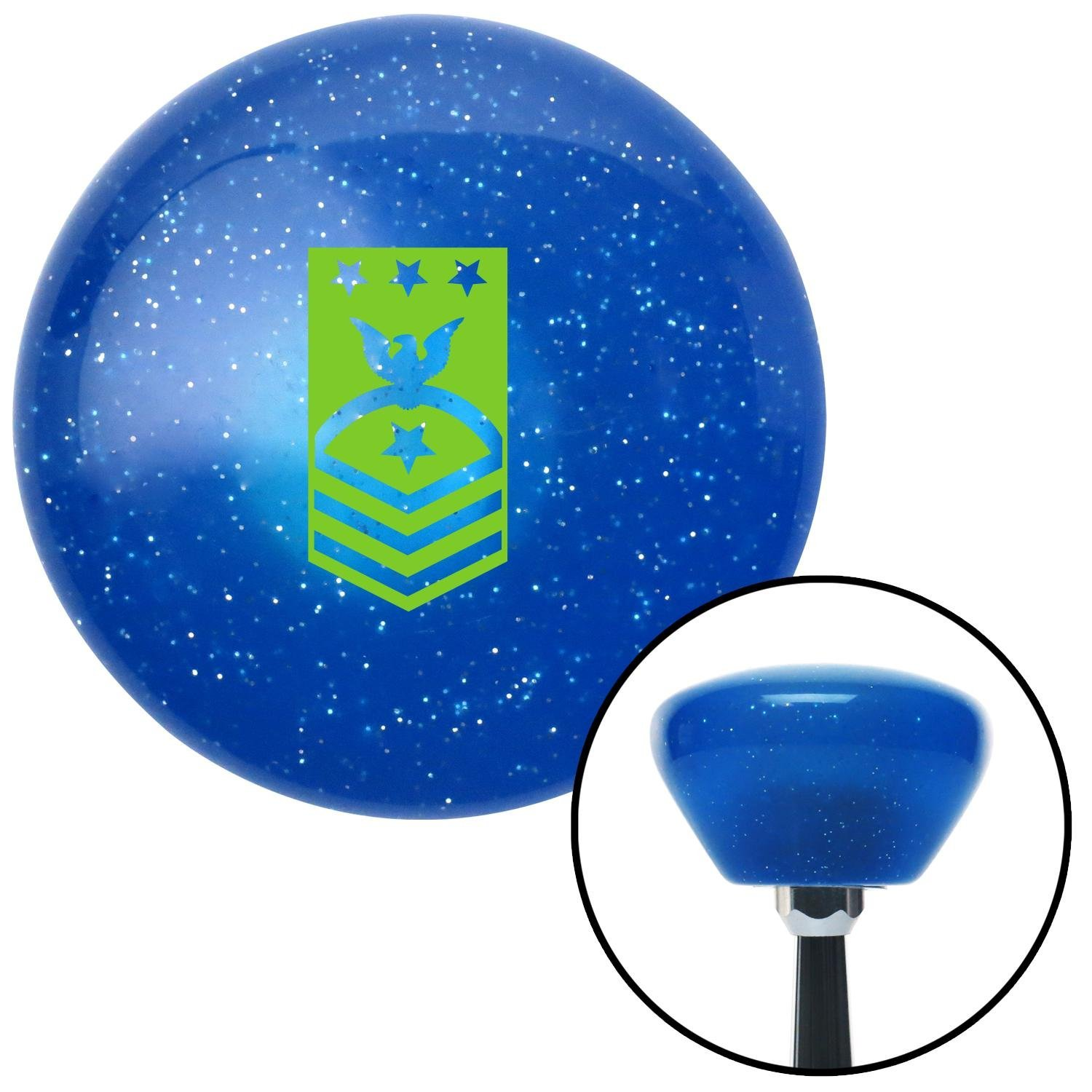 Green Master Chief Petty Officer of The Navy American Shifter 190137 Blue Retro Metal Flake Shift Knob with M16 x 1.5 Insert