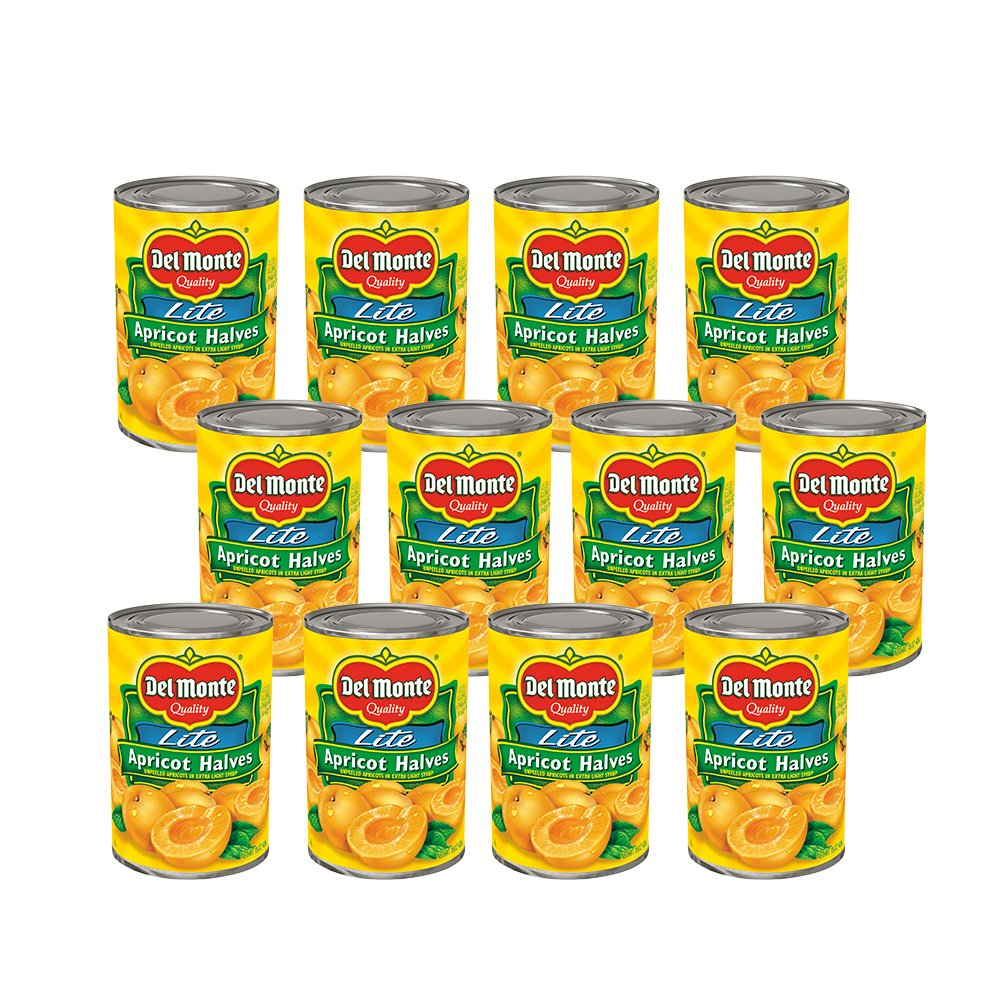 Del Monte Canned Apricot Halves in Extra Light Syrup, 15-Ounce (Pack of 12)
