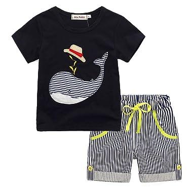 22728a738 Fossen Niño Camiseta Ballena de Sibujos Animados y Pantalones Cortos a  Rayas Conjunto de Ropa Verano