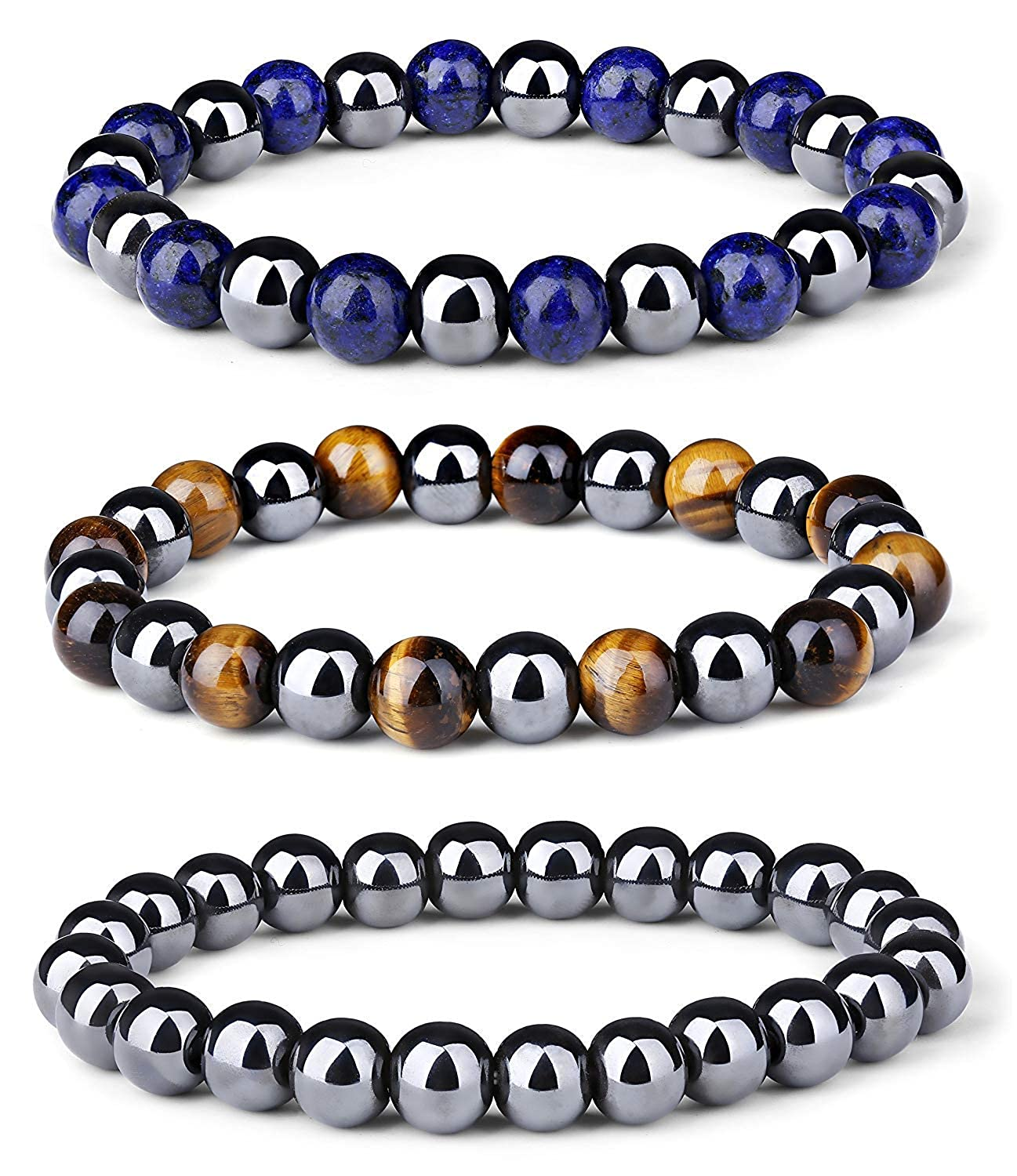 Thunaraz 3Pcs Hematite Therapy Beads Men Women Healing Energy Natural Stone Adjustable Bracelet Tiger Eye Stone TH-Y-B0017-1