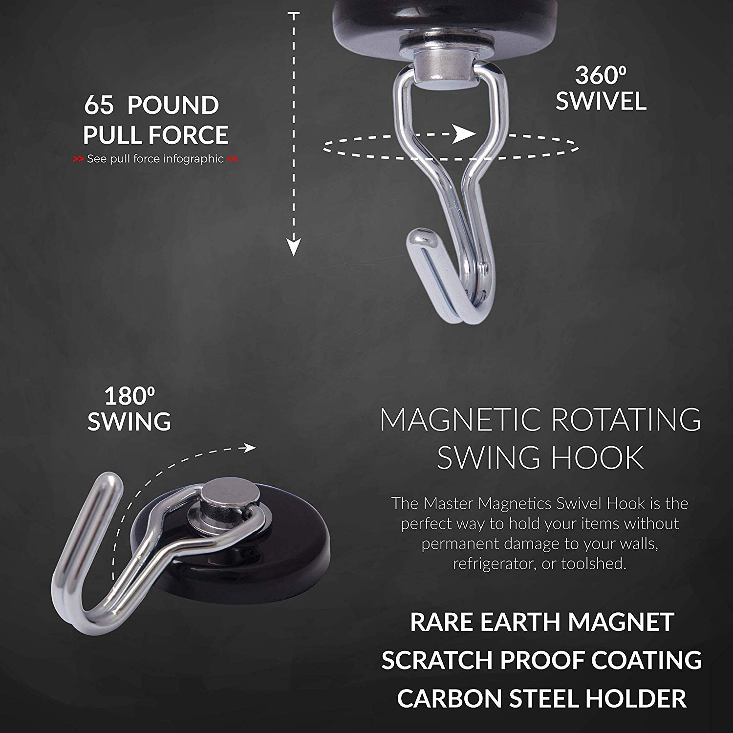 Master Magnetics 7580 Magnetic Hook Organizer Rotating Swing Hook 65 Pound Pull Force 1.47Diameter 0.54Thick Black, Sold as 3 Pack by Master Magnetics (Image #5)