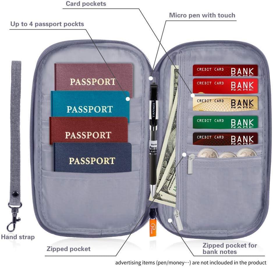 Passport and Document Holder for Man /& Women Black Wallet Reaeonat Travel Wallet