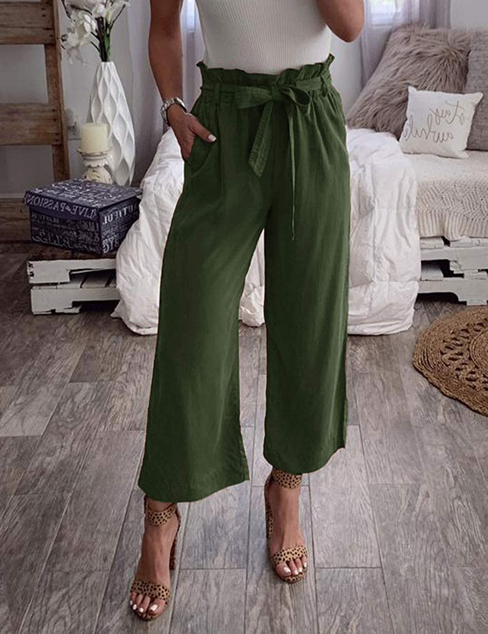 MEROKEETY Womens Elastic High Waist Wide Leg Casual Belted Paper Bag Pants with Pockets