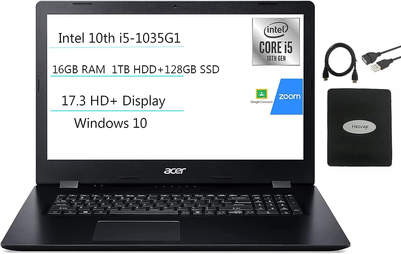 2021 Acer Aspire 3 17.3'' HD+ Laptop, 4-core Intel Core i5-1035G1(up to 3.60 GHz), 20GB RAM, 1TB HDD+ 128GB SSD, HDMI WiFi RJ-45 Bluetooth Webcam DVD-RW, Win 10 w/Ghost Manta Accessories