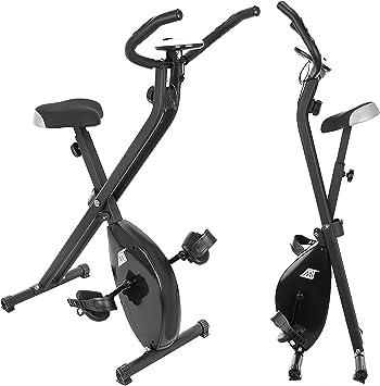 MT MALATEC Bicicleta estática plegable, con ordenador de entrenamiento, peso corporal hasta 100 kg, color negro, 9643