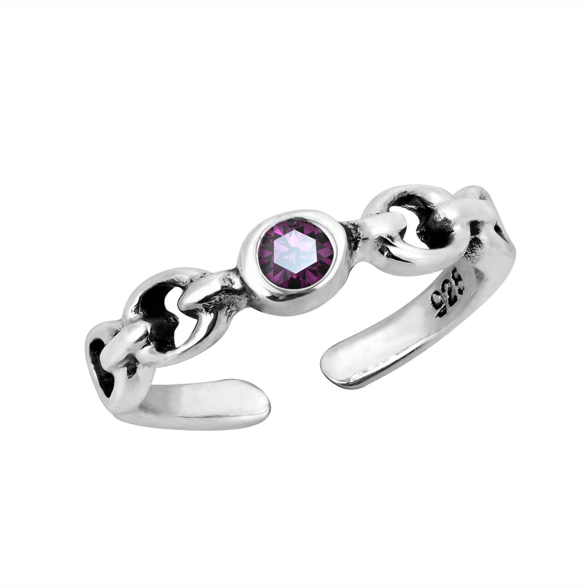 AeraVida Cute Purple Cubic Zirconia Chain Link .925 Sterling Silver Toe Ring or Pinky Ring