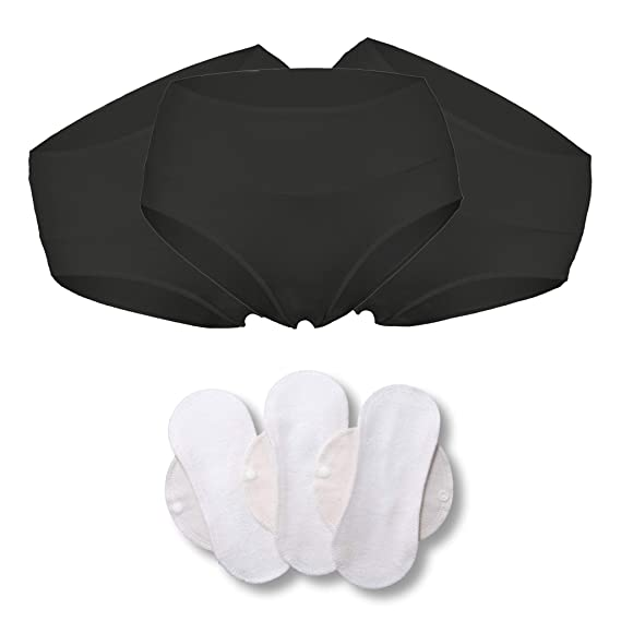 a7595a75e174 Bamboo Brazilian Underwear; Ladies' Briefs: 3-Pack High-Waisted Sport  Knickers, Panties for Women; Made in EU; Bonus 3-Pack Bamboo Reusable  Sanitary ...