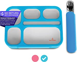 East World Lunch Box for Kids- Leak Proof Kids Lunch Box - Bento Box for Kids - With Stainless Steel Cutlery in Travel Case! BPA Free Portion Control Container, Adult Lunch Box