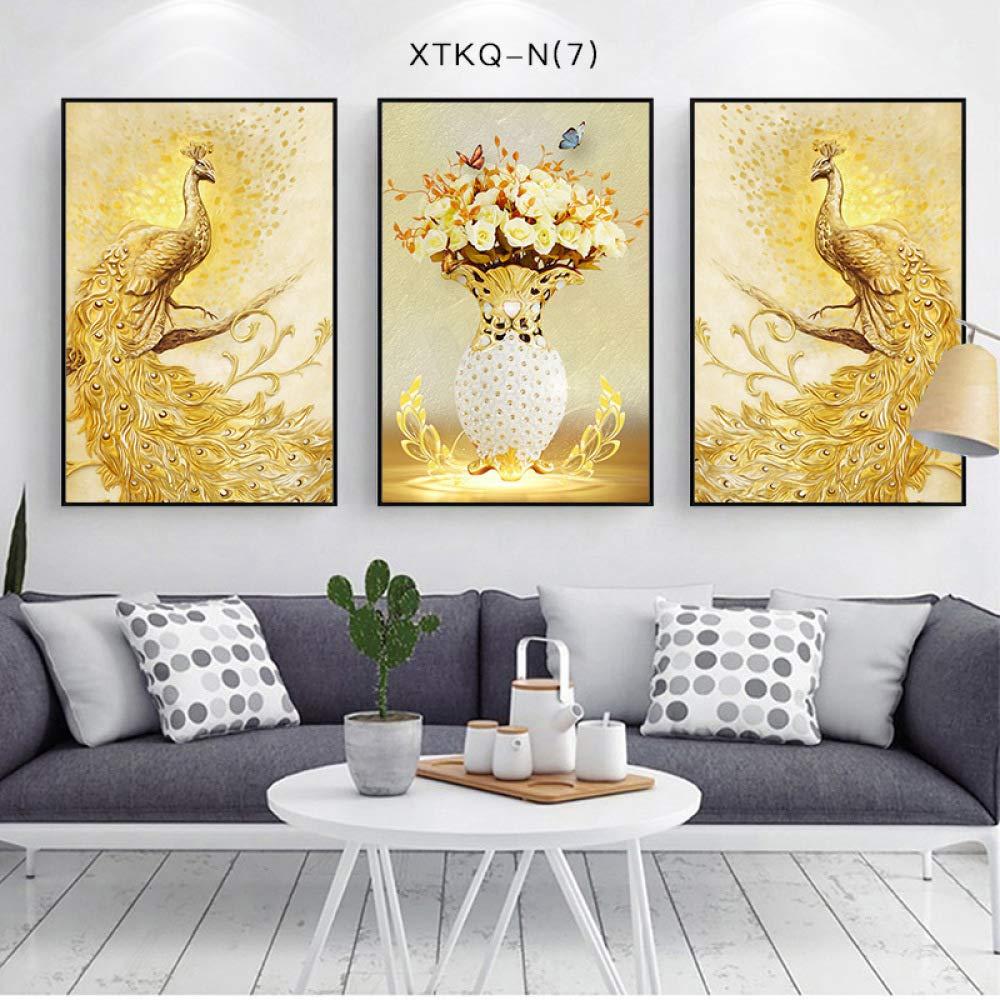 SED Nordic Modern Flower and Bird Living Room Decorative Painting, Custom Porch Decorative Painting, Triptych, Peacock Decorative Painting,C,3040cm by SED