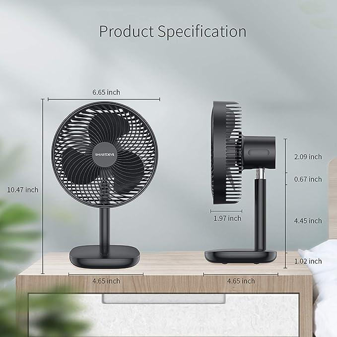 SmartDevil Ventilador de Mesa,batería Recargable de 3000 mAh,Ventilador portátil,Viento de 4 velocidades,45 °Ajustable,silencioso y Potente, Ventilador de enfriamiento fácil de Limpiar-Negro: Amazon.es: Hogar