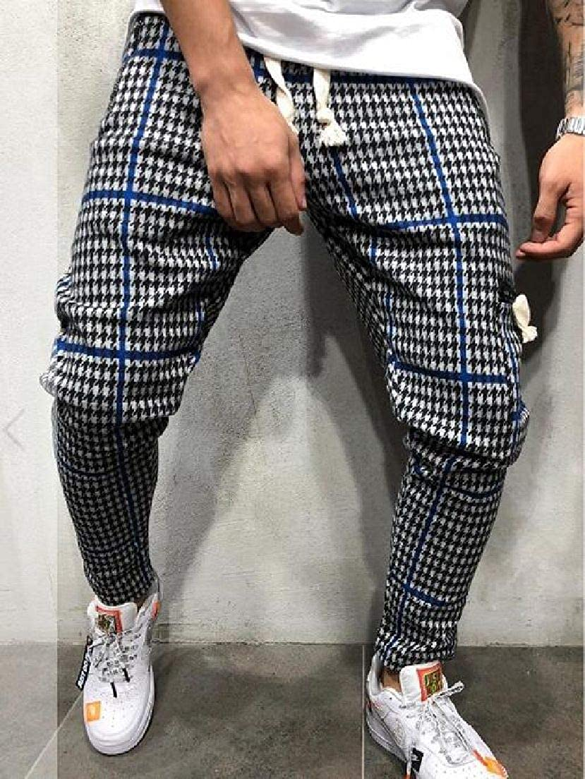 UUYUK Men Casual Plaid Print Elastic Waist Stretch Slim Sport Pants Trousers