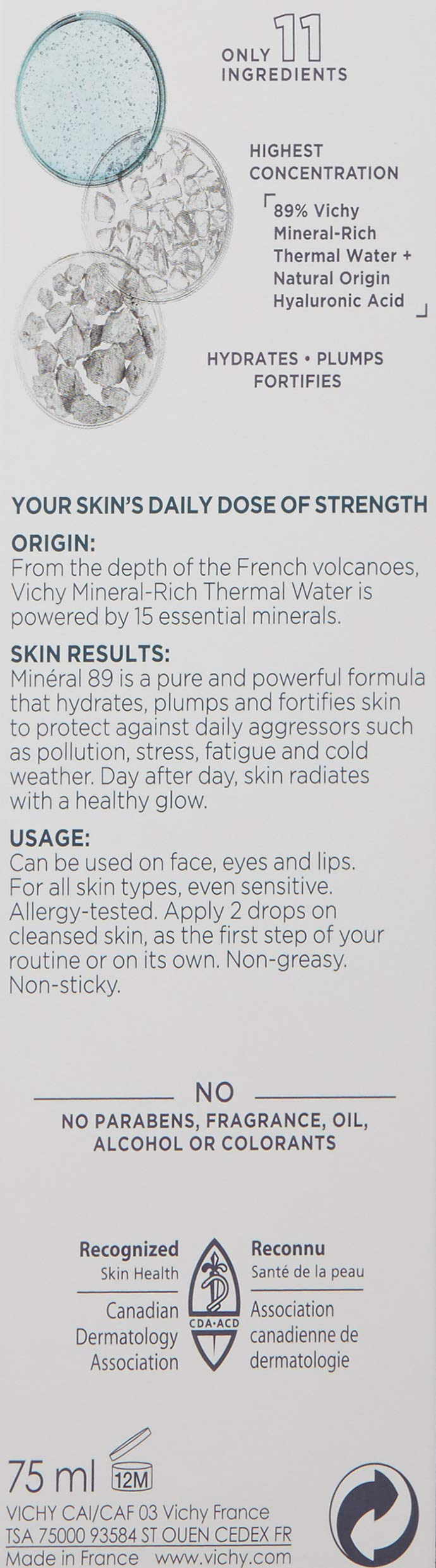 Vichy Mineral 89 Hydrating Hyaluronic Acid Serum and Daily Skin Booster, For Stronger, Healthier Looking Skin, 2.54 Fl. Oz. by Vichy (Image #8)
