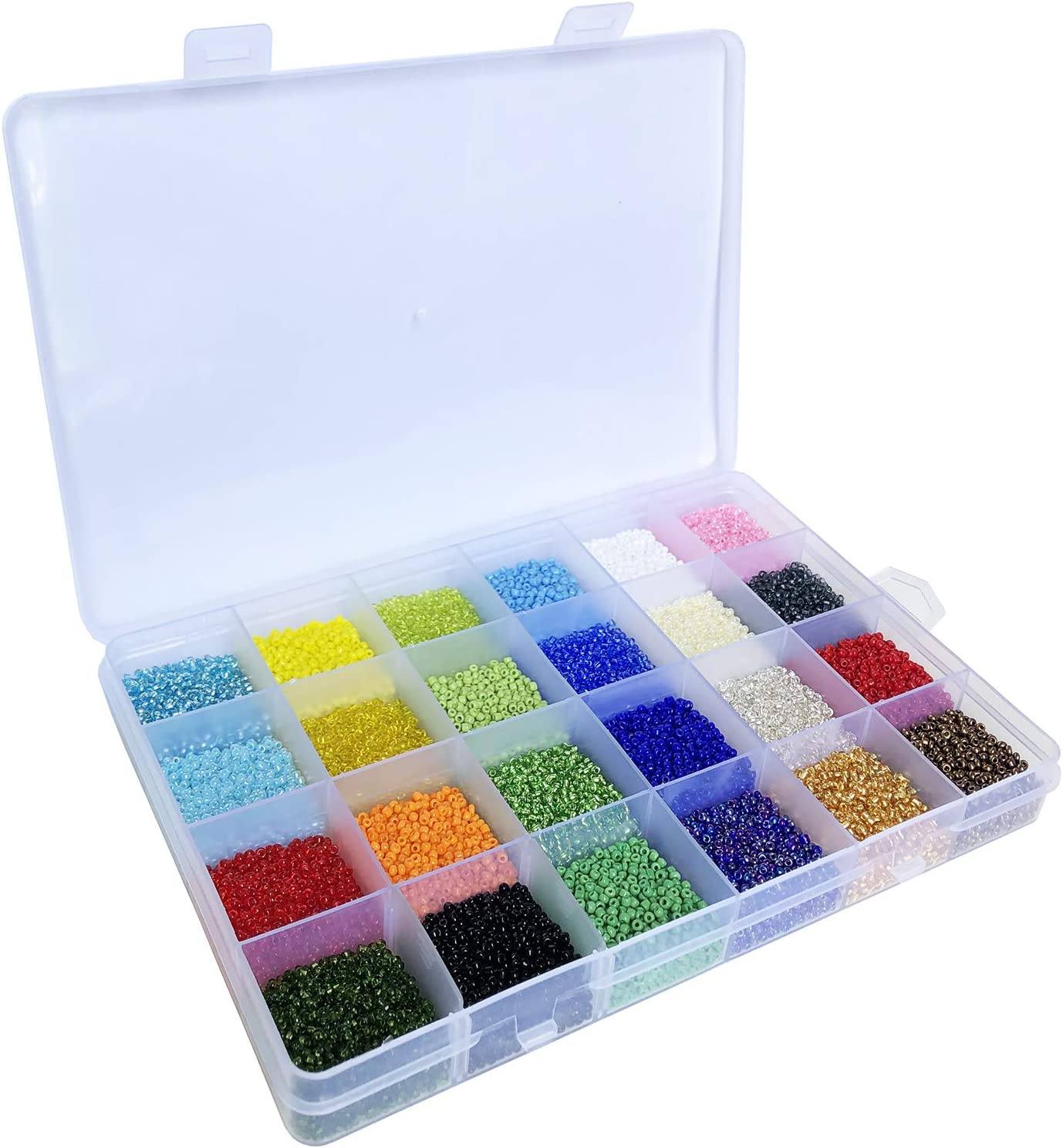 Size 12//0 Crafts Glass Seed Beads 2mm Tiny Pony Beads Assorted Kit with Organizer Box for Jewelry Making 24 Assorted Multicolor Set, Total About 24000pcs