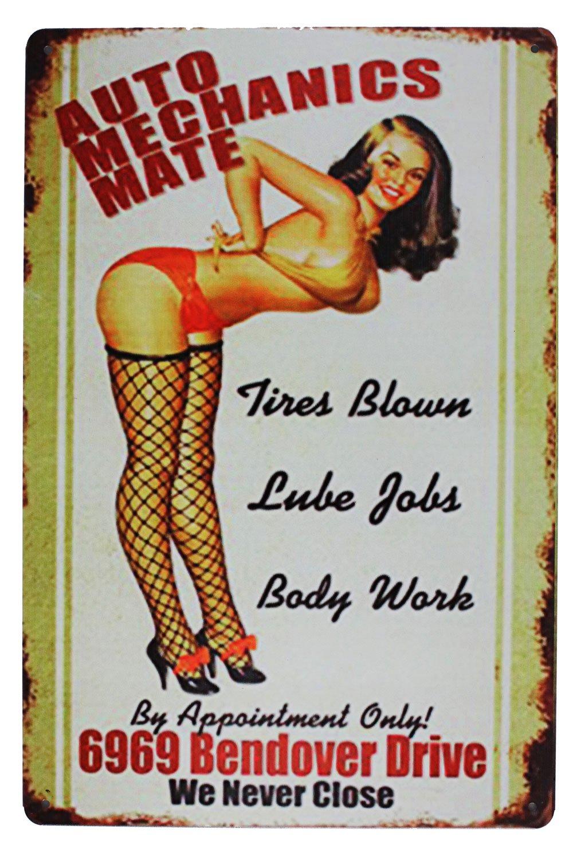 SUMIK AUTO Mechanics Mate, Metal Tin Sign, Vintage Art Poster Plaque Garage Home Wall Decor CHINA