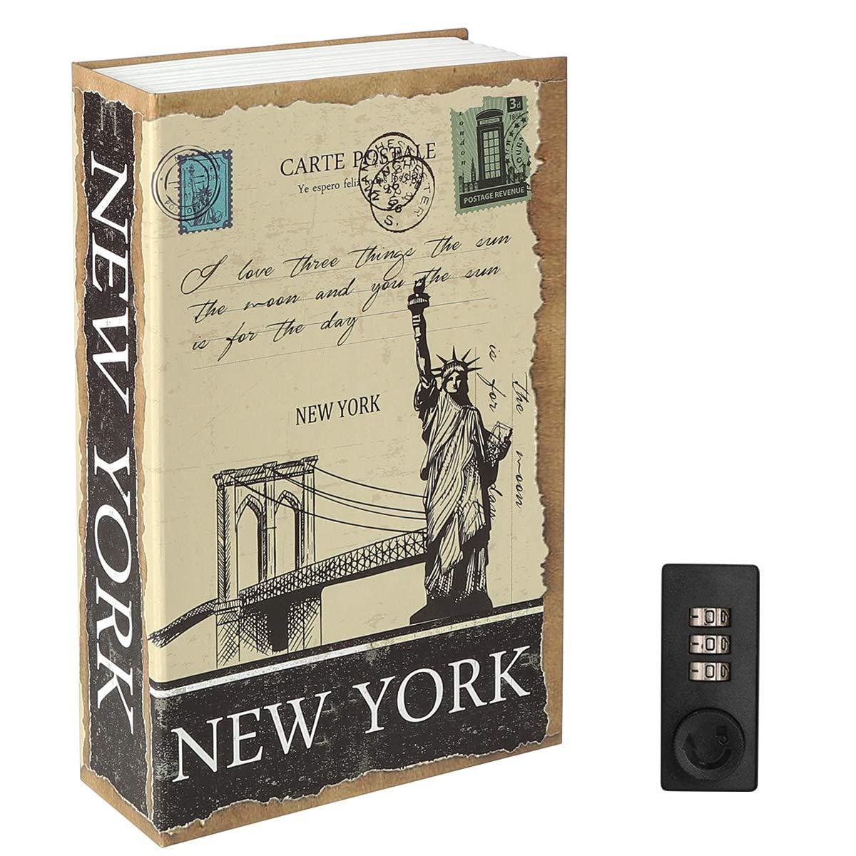 "Diversion Book Safe with Combination Lock, Decaller Safe Secret Hidden Metal Lock Box, 9 1/2"" x 6"" x 1 1/3"", New York"