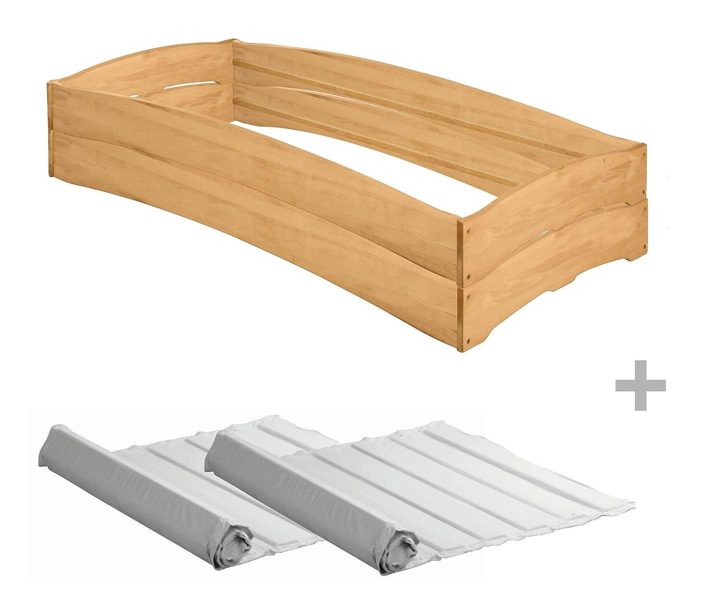 BioKinder Leandro 2er Set Stapelbett Stapelliege Gästebett mit 2 Roll-Lattenrosten aus Massivholz Erle 90 x 200 cm