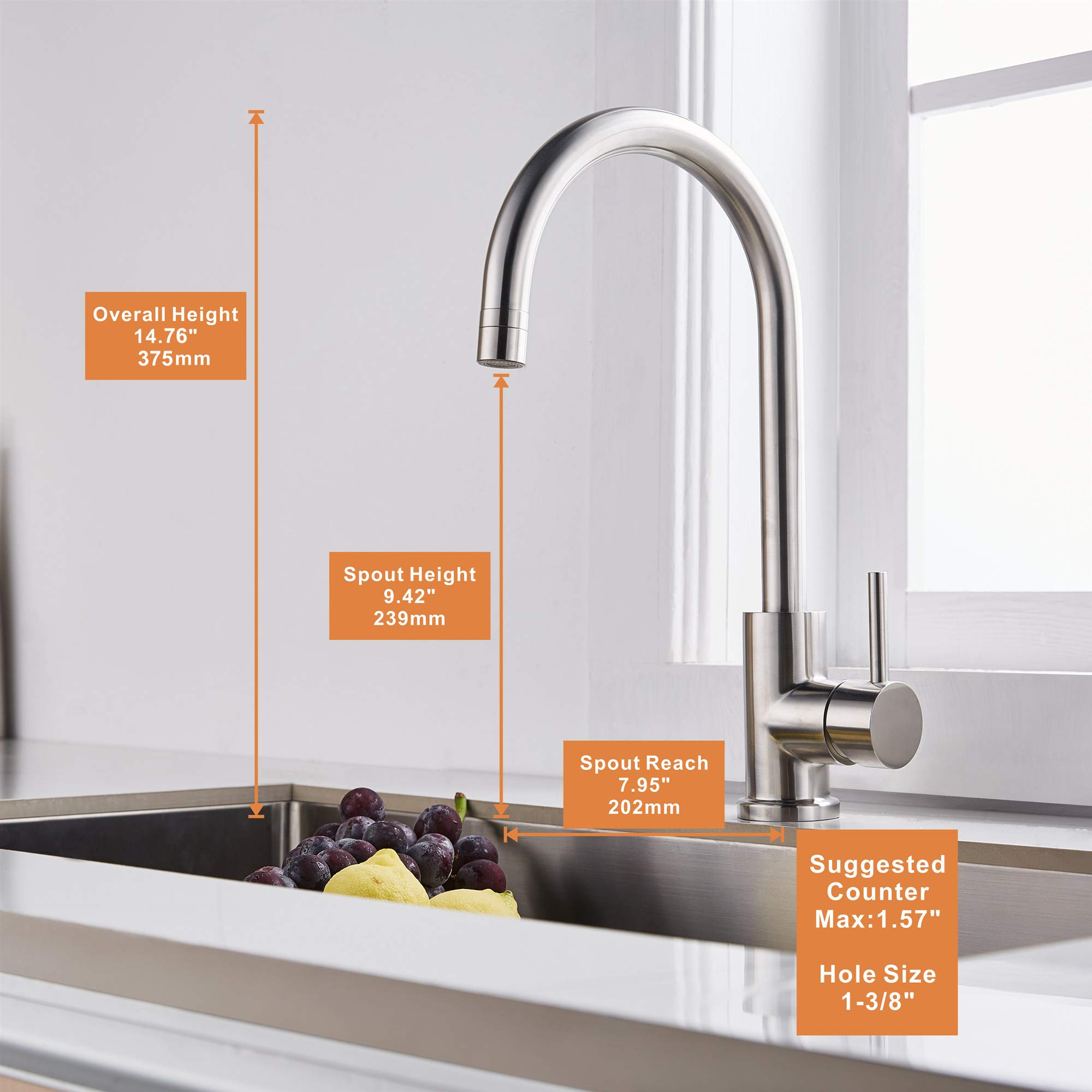 Trywell T304 Solid Stainless Steel Kitchen Sink Faucet, High Arc Single Lever Bar Faucet with Two-function Nozzle,1.8 Gpm by Trywell (Image #6)