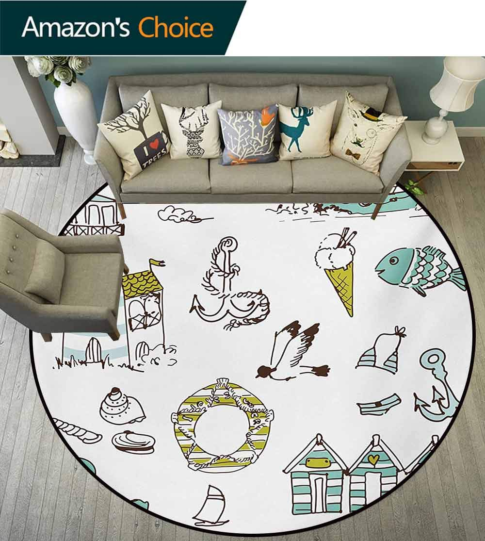 RUGSMAT Nautical Super Soft Circle Rugs for Girls,Marine Elements Fish Lighthouse Anchor Vessel Swimsuit Gulls Lifebuoy Print Baby Room Decor Round Carpets,Diameter-71 Inch Pale Green Yellow