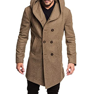 af8458ae Bejoin Autumn Winter Mens Long Trench Coat Cotton Casual Woollen Men ...