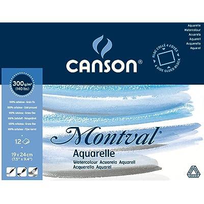 "'Canson 200006533AQ Montval Fein Aquarelle, 300g/m², 12hojas por bloque ""encolado alrededor, 19x 24cm, color blanco"