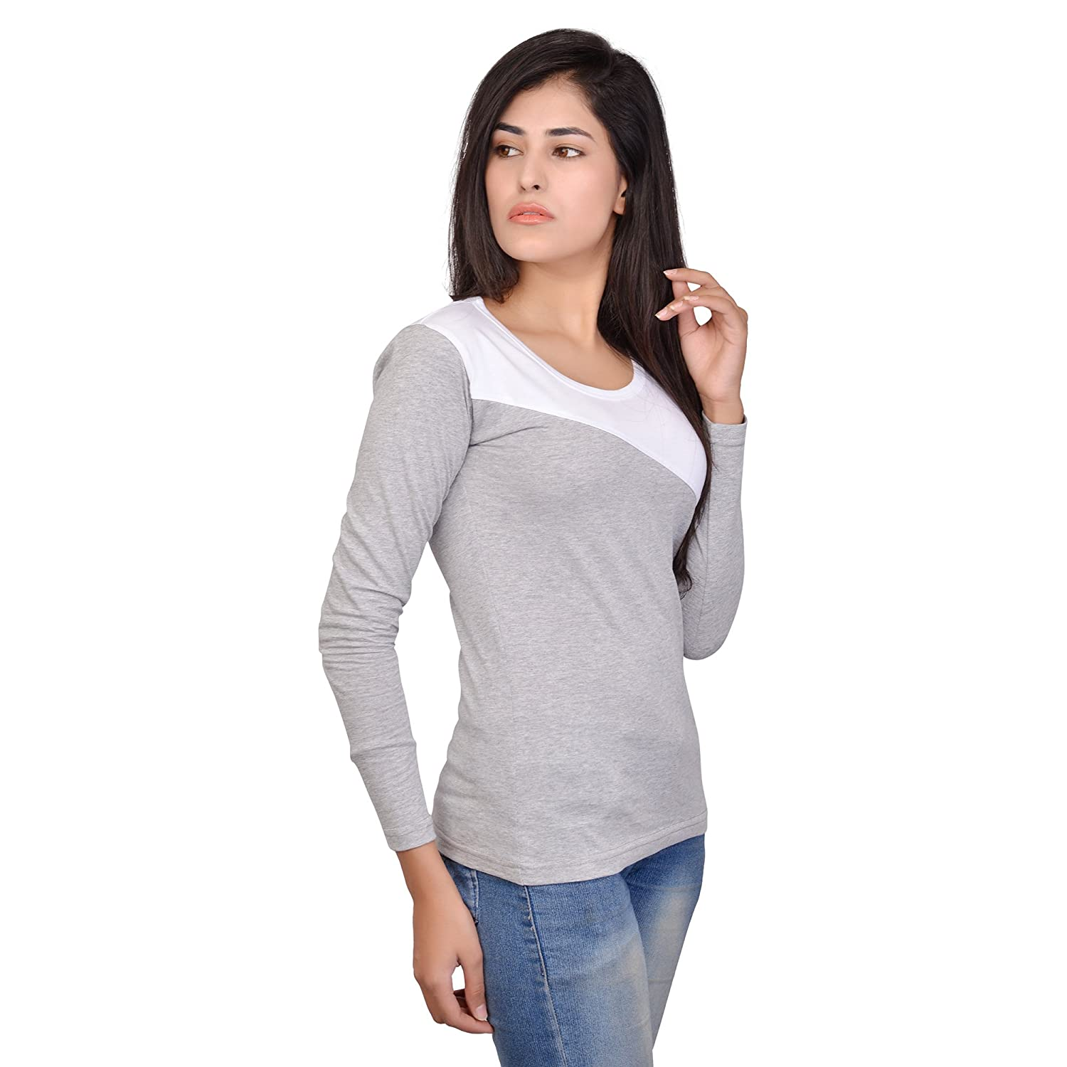 99ff2f15841 Fubura Womens Cotton Casual T-Shirts Round Neck Full Sleeve with Grey White  Colour  Amazon.in  Clothing   Accessories