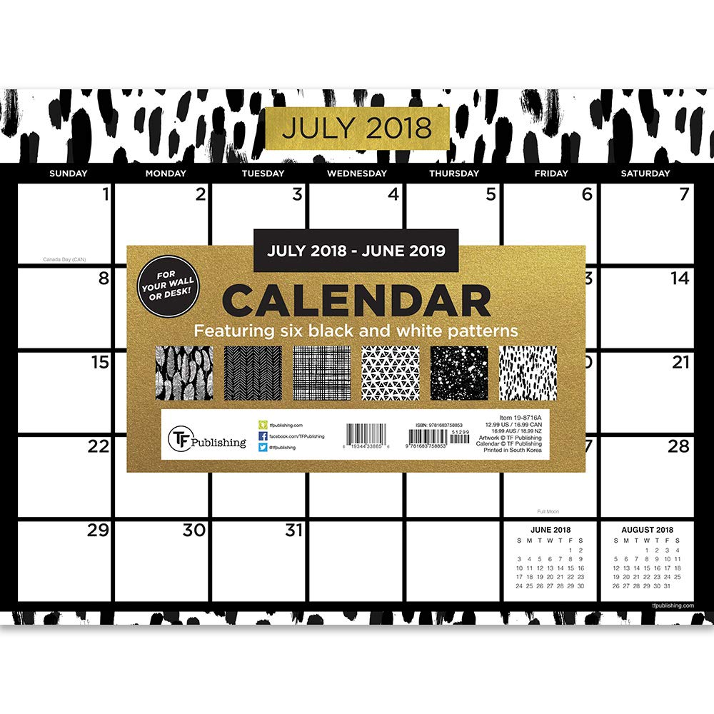 TF Publishing 19-8716A July 2018 - June 2019 Black White and Gold Mini Desk Pad Calendar, 12 x 9'', Black, White & Gold by TF Publishing