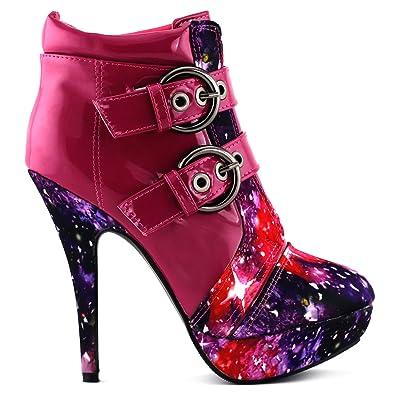 02e7625758af SHOW STORY Hot Pink Buckle Night Sky High Heel Stiletto Platform Ankle Boots