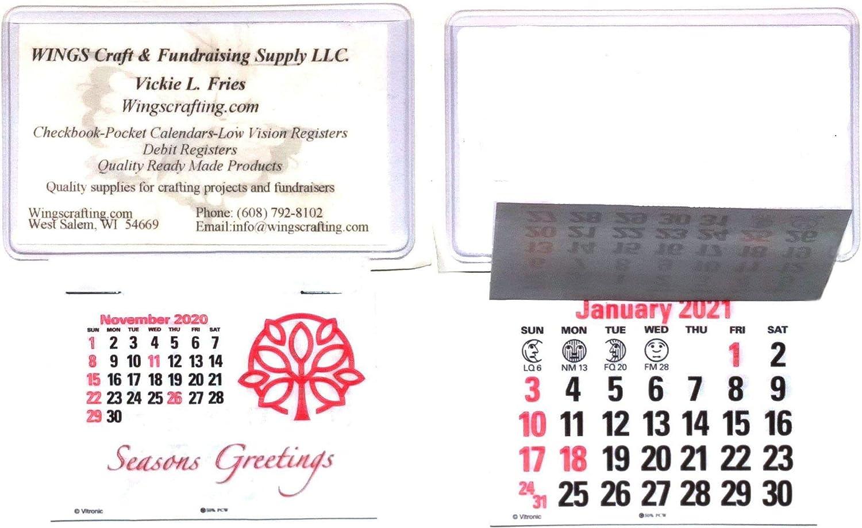 2021 Business Card Adhesive Stick Up Calendars Peel & Stick Press On White (3)