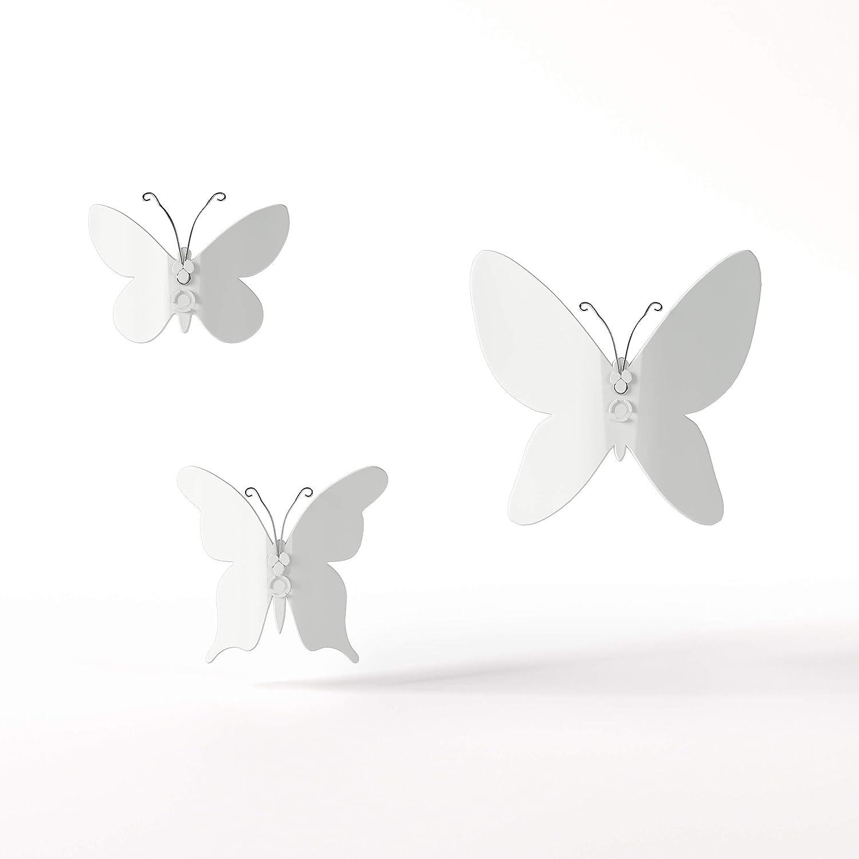 Umbra 470130-660 Mariposa – Metal Wall Décor, White, Set of 9,8.5 oz
