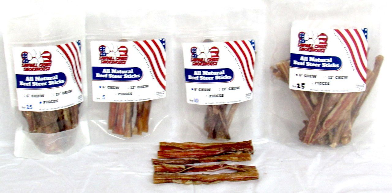 6'' Beef Steer Bully Sticks Odorless Sourced & Made USA Natural USDA certified (25 Pack) by Sawmill Creek Smokehouse (Image #3)