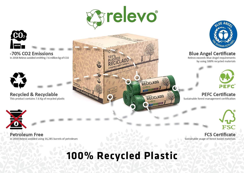 30 Litri 15 unit/ã Relevo Sacchetti Spazzatura 100/% riciclati