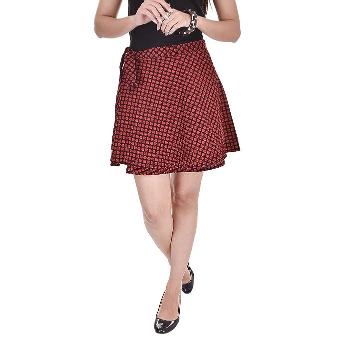 d95b59d0bd Pezzava Women s Cotton Printed Wrap Around Mini Skirt (Red