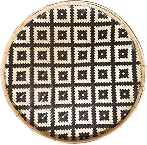 Round Woven Basket Tray, Natural Handmade Flat Bamboo Basket - Versatile Use: Bohemian Wall Décor, Decorative Fruit Baskets, Serving Wicker Bowl. Brown