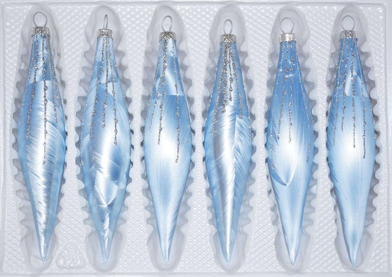 Christbaumkugeln Kariert.6 Tlg Glas Zapfen Set In Ice Blau Silber Regen Christbaumkugeln