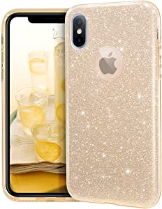 "MATEPROX iPhone Xs case,iPhone X Glitter Bling Sparkle Cute Girls Women Protective Case for iPhone Xs/X 5.8""-Gold"
