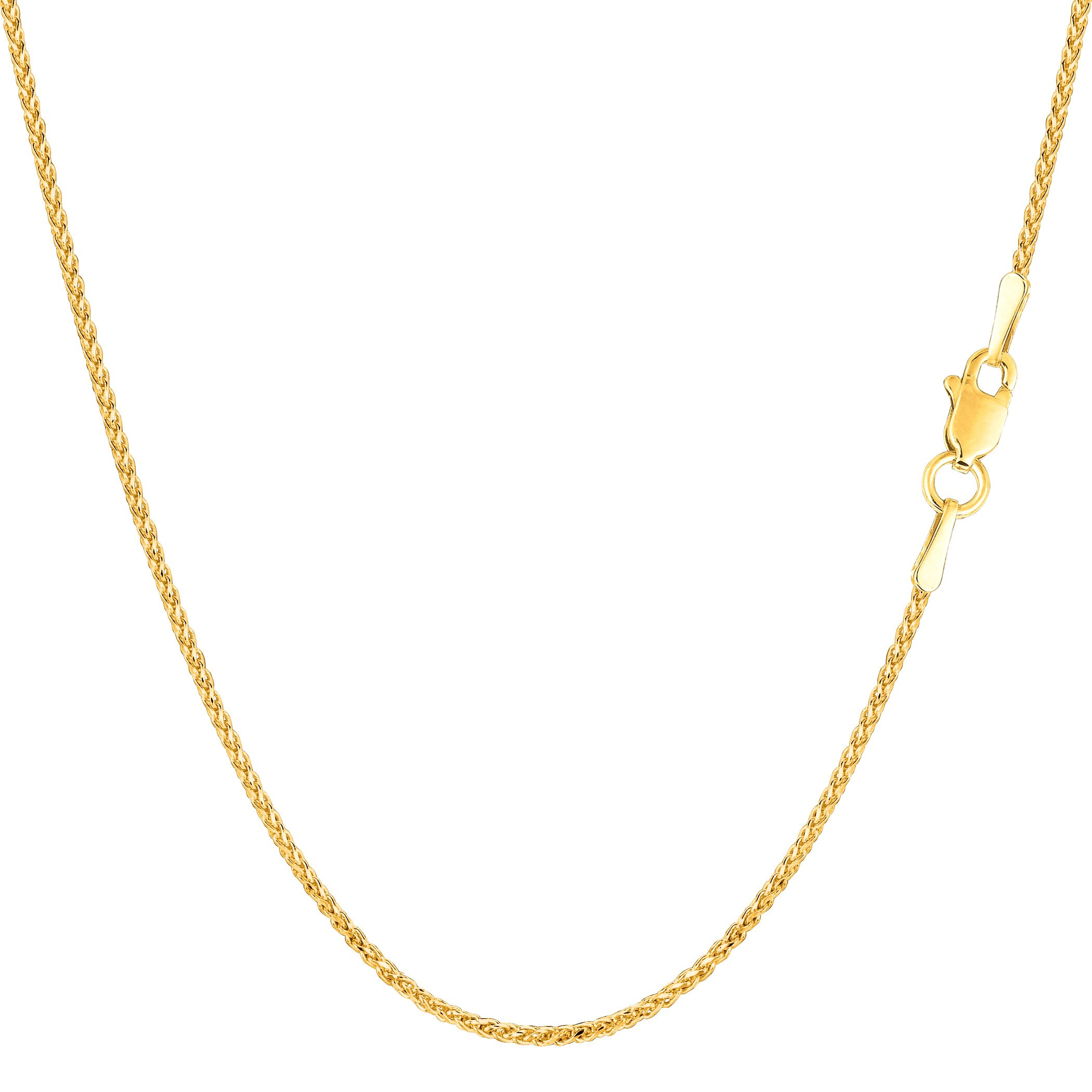 14k Yellow Gold Round Diamond Cut Wheat Chain Necklace, 1.15mm, 24''