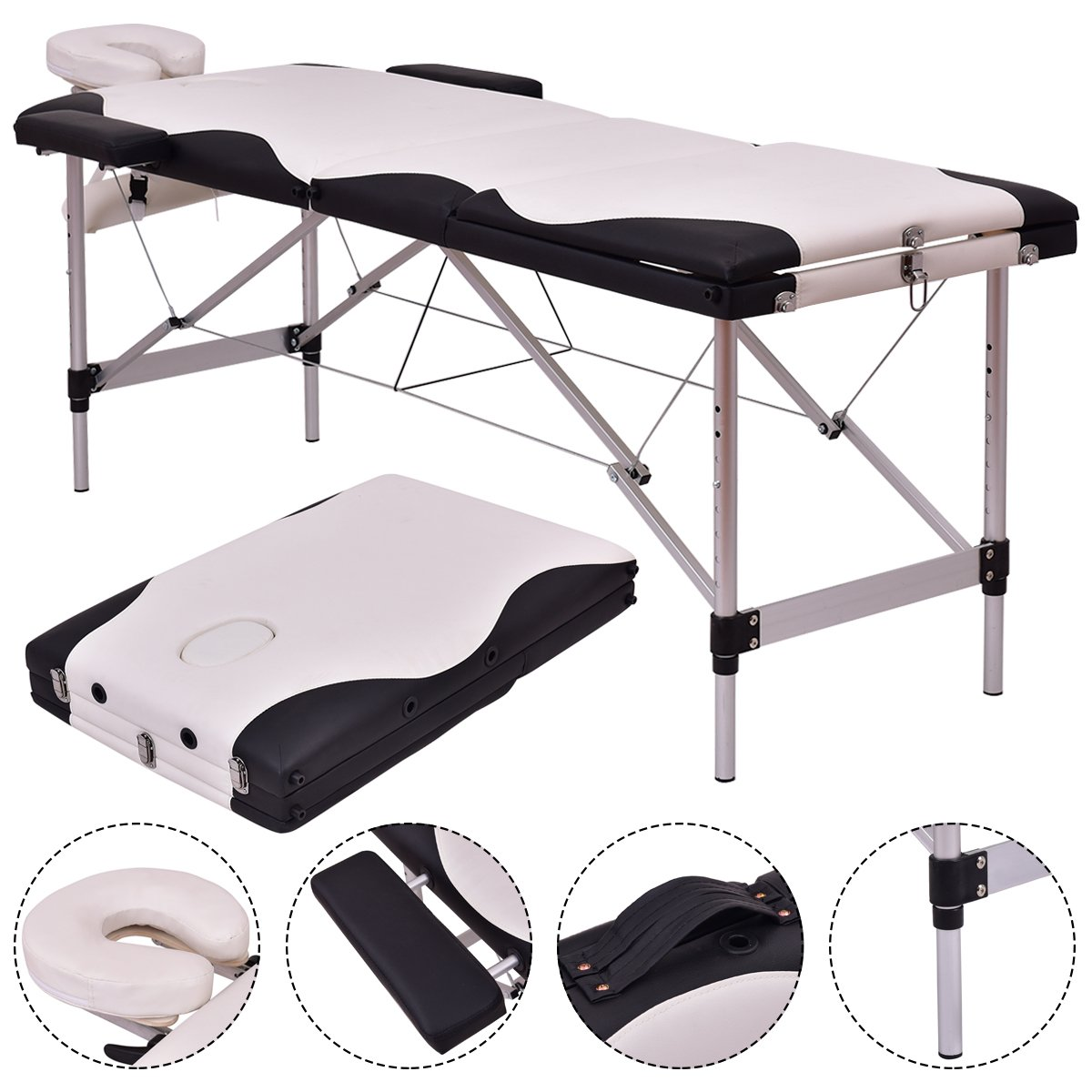 3 Section Professional Portable Massage Table Bed, Adjustable Massage for Salon Beauty Physiotherapy Facial SPA Tattoo Household