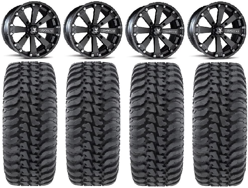 Bundle 4x156 Bolt Pattern 12mmx1.5 Lug Kit 9 Items MSA Black Kore 14 ATV Wheels 30 Regulator Tires
