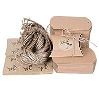X-Mile 100 Pacchi scatoline portaconfetti di Carta Kraft Confezioni Regalo Confezioni Regalo con 100 Pack Adesivi Adesivi Regalo 100 Pack 63cm Juta corda per Cioccolatini Dolci noci Foglie di tè Biscotti