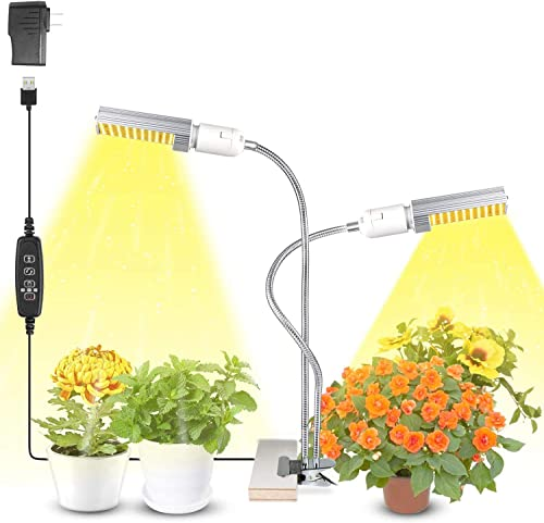 Plant Light for Indoor Plants, KINGBO 15000Lux Auto ON Off Timer Full Spectrum Grow Lamp, 3 9 12H Timing 13 Dimmable Levels for Seeding Succulent Greenhouse Hydroponics