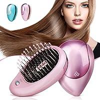 Brosse à cheveux électrique ionique, Luckyfine, Mini Brosse ionique pour cheveux, Peigne de massage magnétique à vibration, Traitements parfaits pour le massage du cuir chevelu des cheveux Rose
