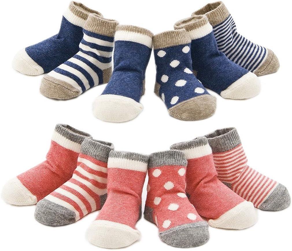 Ele Gens 4//8er Baumwolle Babysocken Erstlingssocken Socken S/öckchen Gepunkt Gestreift Set Baby Junge M/ädchen Kleinkind Neugeborene