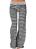 Young17 Women's Stretch Comfy Striped Wide Leg...